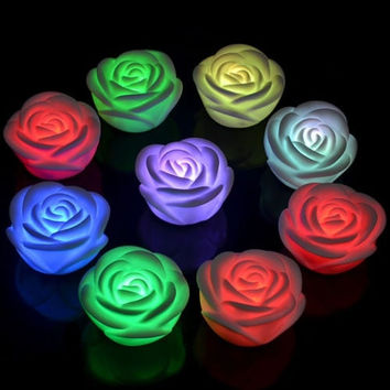 Changing 7 Colors Rose Flower Christmas Wedding Party Fairy Lights Led Battery = 1932040900