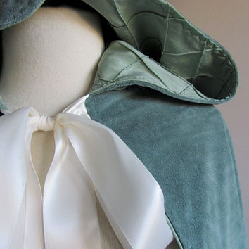 Something Blue Hooded Capelet by lorigami on Etsy