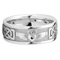 Wedding Band - 14K White Gold 8 mm Men's Celtic Claddagh Wedding Ring