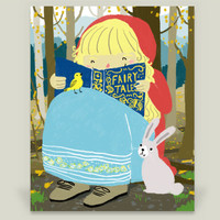 Reading a Fairy Tale Book Art Print by yetzenialeiva on BoomBoomPrints