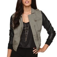 LA Hearts Faux Leather Sleeve Twill Moto Jacket at PacSun.com