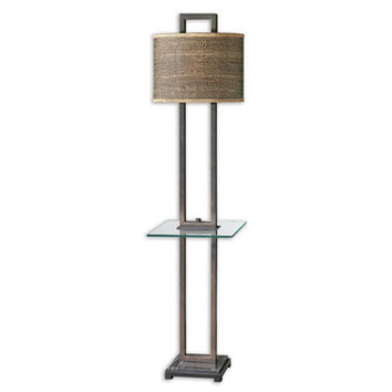 Uttermost Stabina End Table Lamp w/ Tan Woven Rattan Shade