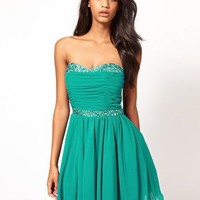 Little Mistress Jewelled Bustier Gathered Skater Dress at asos.com