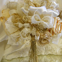 "Burlap Bridal Wedding Bouquet handmade of rustic burlap roses and handmade flowers with raffia wrapped stems. ""READY TO SHIP"""