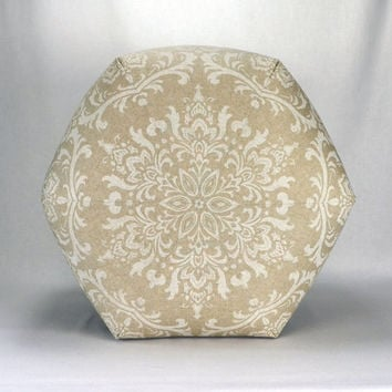 "24"" Floor Ottoman Pouf Cloud Linen - Taupe, Natural, Beige Damask Contemporary Modern Print"