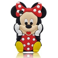 Luckystone 3D Cartoon Minnie Mouse Soft Silicon Case Cover Compatible for Apple Ipod Touch 4/4g/4th Generation Red