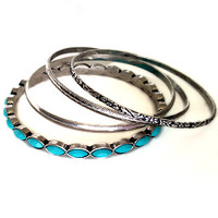 Turquoise Bohemian Silver Bangles- Set of 4