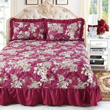 Wine Red Ruffled Luxury Quilted Bedspread