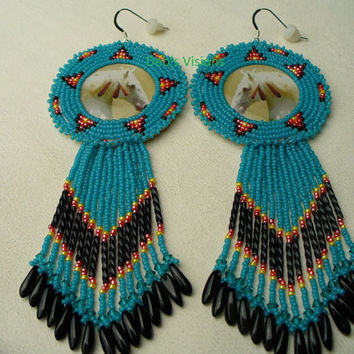 Native American Style Rosette Beaded War Pony Earrings in Cerulean