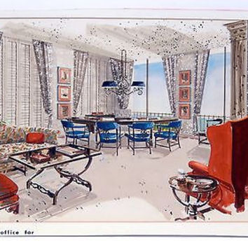 Mid Century Architectural Rendering Watercolor Painting Interior Signed Original