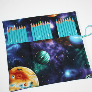 Artists Pencil Roll-Up Case for Pencils, Markers, Sharpies, Art Supplies Case Stargazer Galaxy Planets Space