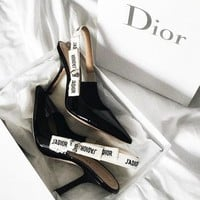 "Hot Sale ""Dior"" New Fashion Women Personality Pumps High Heel Sandals Shoes Black I-ALS-XZ"