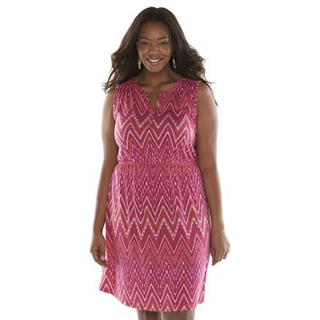 SONOMA life + style Chevron Splitneck Dress - Women's Plus
