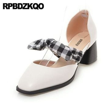 Japanese Sweet Lolita Fashion Shoes Pumps Bow Size 4 34 Ladies White D'orsay Chic Square Toe Cute Medium Heels Mary Jane Chunky