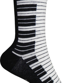 Piano Crew Socks in Black and White