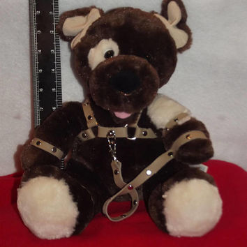 MATURE, one of a kind, handmade, bondage puppy , BDSM bear, bondage bear, BDSM gift, slave puppy, puppy, puppy collectible, pup, alpha