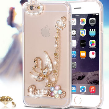6S/i6 Plus Cover Slim Ballet Girl Cat Swan Bling Diamond Clear Case For iPhone 6 6S 4.7 inch Soft TPU For iPhone 6 6S Plus Capa