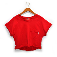 Jodi-Ann Semi Cropped Sweatshirt (Red)