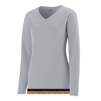Women's Performance Light Silver Long Sleeve T-shirt With Fringes