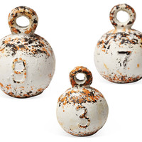 """Asst. of 3 4"""" Weathered Weights, White, Replicas"""