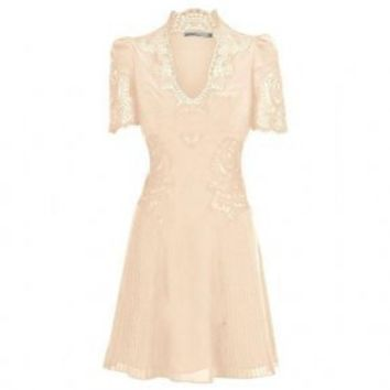 Bqueen Lace Embroidery Dress Light Pink K313F - Designer Shoes|Bqueenshoes.com