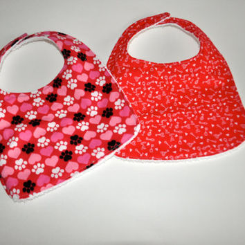 2 Valentines Day bibs, Heart baby bibs, Valentines Day Baby bibs, Puppy and heart baby bib, 2 Valentines day bibs, Babys first Valentine