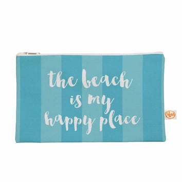 "Sylvia Cook ""Beach is My Happy Place - Blue"" Aqua Typography Everything Bag"