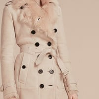 Shearling Trench Coat Chalk Pink