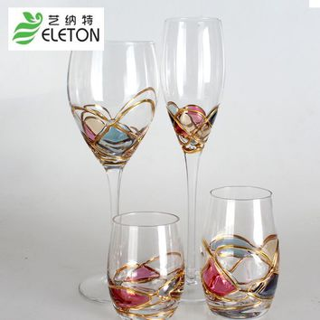 ELETON colorful red wine Decanter glass flutes