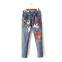 Blue Denim Cartoon Print Ripped Zipper Pocket Jeans