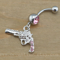 Gun Belly Button Rings,pink Navel Jewelry, gun button ring, friendship belly button ring, belly jewelry