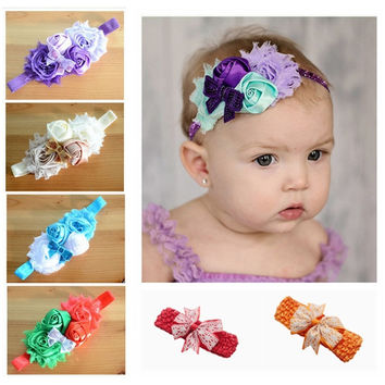 New Flower Headband baby sequin bows headband hairband for Newborn Infants Children Hair Accessories Girls Headwear