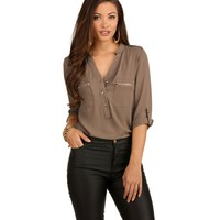 Taupe On Hold Blouse