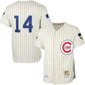 ONETOW Mens Chicago Cubs Ernie Banks Mitchell & Ness Cream MLB Authentic Jersey