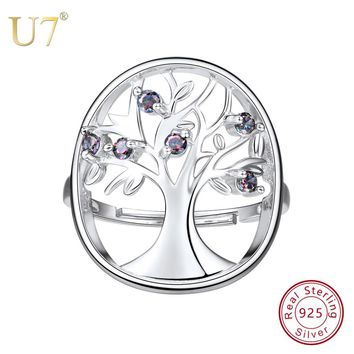 U7 925 Stamped Silver Plated Wisdom Tree Of Life Ring Hollow Rings for Women Sterling Silver Jewelry Wedding Party Gift SC151