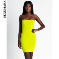 BOOFEENAA Sexy Bandage Mini Neon Dress Women Tube Bodycon Dresses Party Night Club Wear New Trends 2019 Summer Robe Femme C66H86