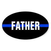 FATHER POLICE OFFICER OVAL BUMPER STICKER