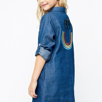 Hayden 2017 Fall Denim Embroidered Back Chambray Dress