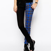 Tripp NYC Plaid Printed Split Leg Skinny Jeans