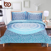 BeddingOutlet Luxury Boho Bedding Crystal Arrays Duvet Quilt Cover 5 Sizes Blue Printed Bedspread 2Pcs or 3Pcs New Arrivals