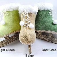 Vintage Knit Ice Skate Ornaments with Glitter Blades (Beige)