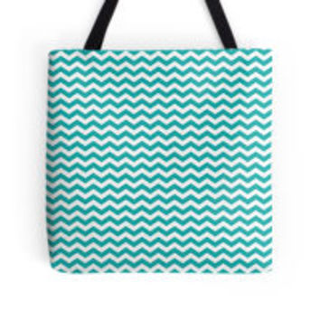 Teal Green White Chevron Zigzag Pattern by TigerLynx