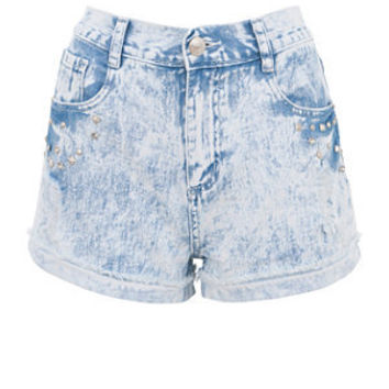 Light Blue Acid Wash Stud Shorts