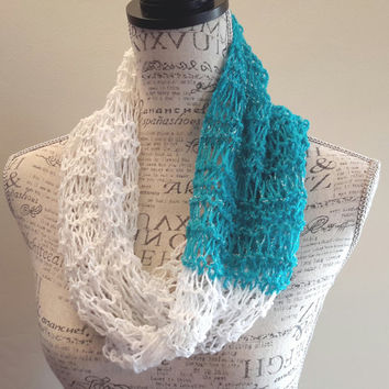 Knit light Infinity scarf. turquoise and white glitter color cowl. Made by Bead Gs on Etsy.