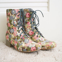 Floral Laced Up Combat Boots Booties Bumper 7 by Toshiko Shek