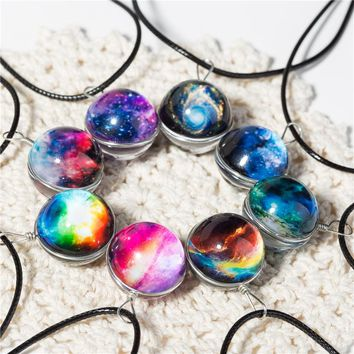 Planet Crystal Star Ball Glass Galaxy  Leather Chain Necklace