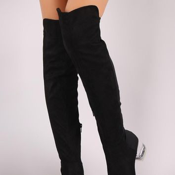 Wild Diva Lounge Suede Clear Block Heeled OTK Boots