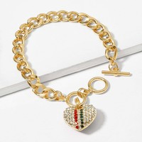Rhinestone Heart Detail Chain Bracelet 1pc