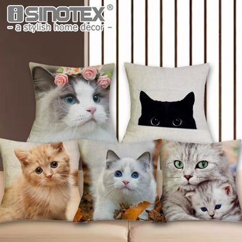 Cute Cat Print Chair Cushion Cover