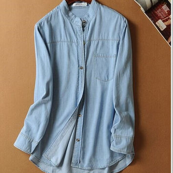 Denim Long-Sleeve Button Shirt